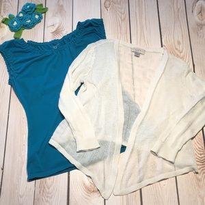 Loft women's petite tank and knit shrug bundle